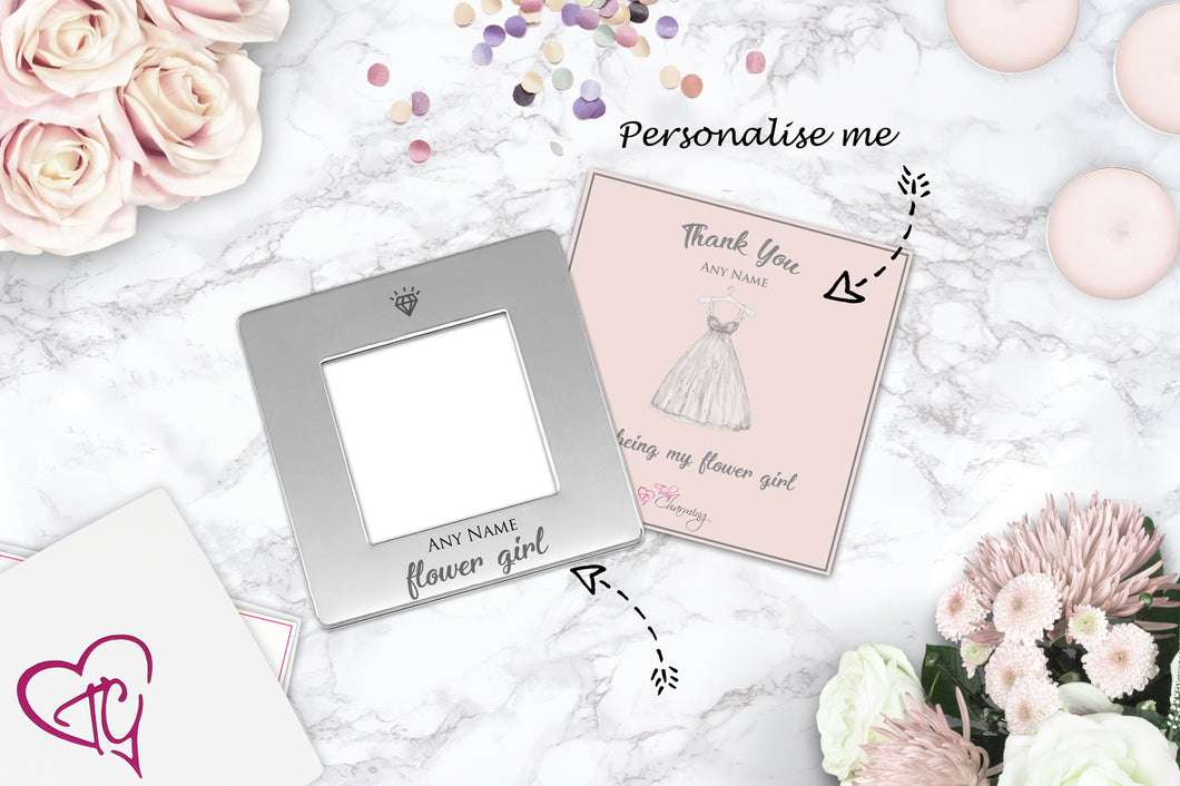 Thank You For Being My Flower Girl Engraved Magnetic Photo Frame ...