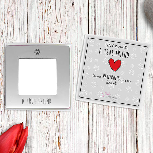 A True Friend Leaves Paw Prints On Your Heart Engraved Magnetic Photo Frame