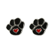 Sterling Silver Paw Print Stud Earrings Mounted On A True Friend Leaves Paw Prints On Your Heart Greeting Card