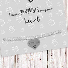 Silver Plated Adjustable Beaded Bracelet With An Engraved Heart Dangle Mounted On A Personalised A True Friend Leaves Paw Prints On Your Heart Greeting Card