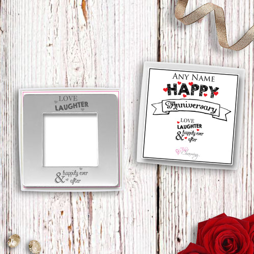 Love Laughter & Happily Ever After Engraved Magnetic Photo Frame
