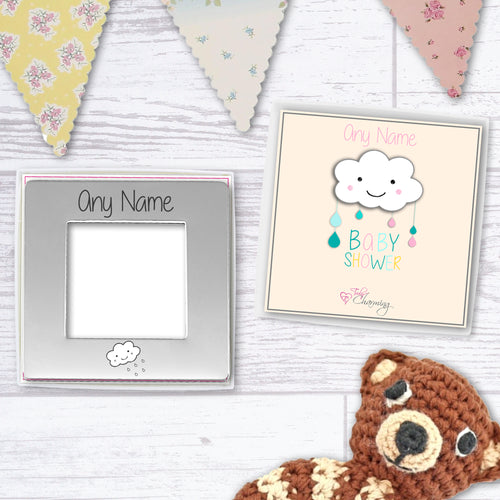 Personalised Baby Shower Engraved 7 cm x 7 cm Magnetic Photo Frame (4 cm x 4 cm Photo)