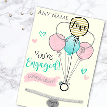 Silver Plated Adjustable Beaded Bracelet With An Engraved Heart Dangle Mounted On A Personalised Congratulations! You're Engaged! Greeting Card