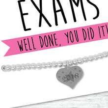 Congratulations On Your Exams Silver Plated Adjustable Beaded Bracelet With An Engraved Heart Dangle Mounted On A Greeting Card