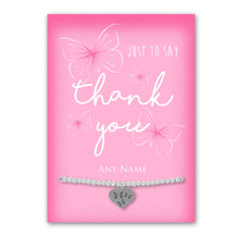 Silver Plated Adjustable Beaded Bracelet With An Engraved Heart Dangle Mounted On A Personalised Thank You Greeting Card