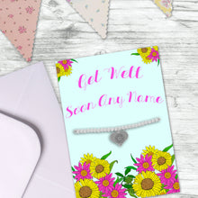 Personalised Get Well Soon Greeting Card With Silver Plated Adjustable Beaded Bracelet & Dangle Charm Engraved With Sunflower