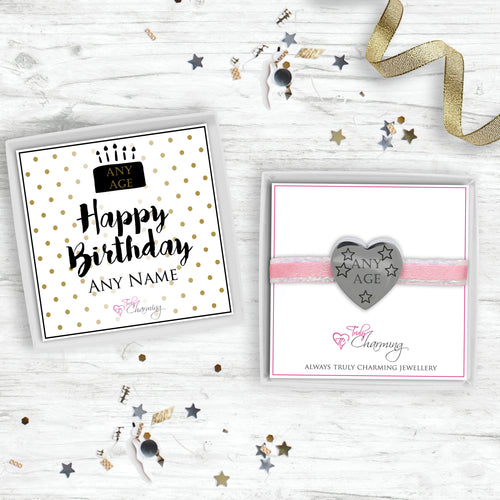 Engraved Birthday Heart Charm. Engraved With Recipients Age