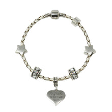 Cream Leather Charm Bracelet With Sparkle Collection Gift Box