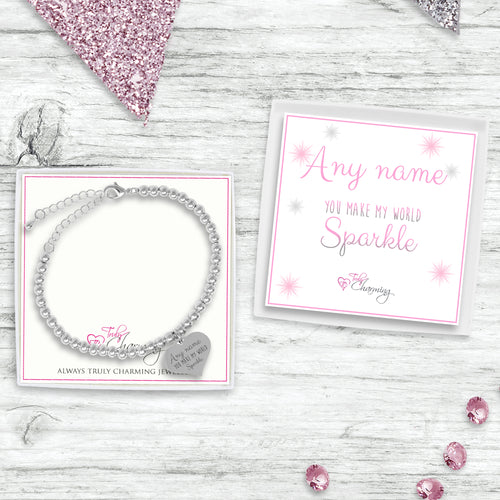 Adjustable Silver Bead Bracelet With Sparkle Collection Gift Box