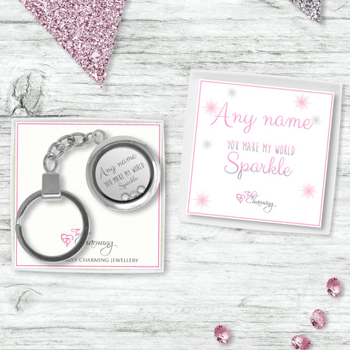 Floating Charm Keyring Made With Swarovski Stones & Sparkle Collection Gift Box