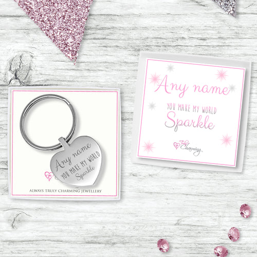 Stainless Steel Keyring With Truly Charming Sparkle Collection Gift Box