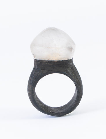 CRYSTAL QUARTZ & BLACK OAK wood ring