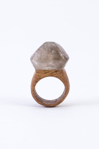 CRYSTAL & WOOD ring - LGE DIAMOND setting