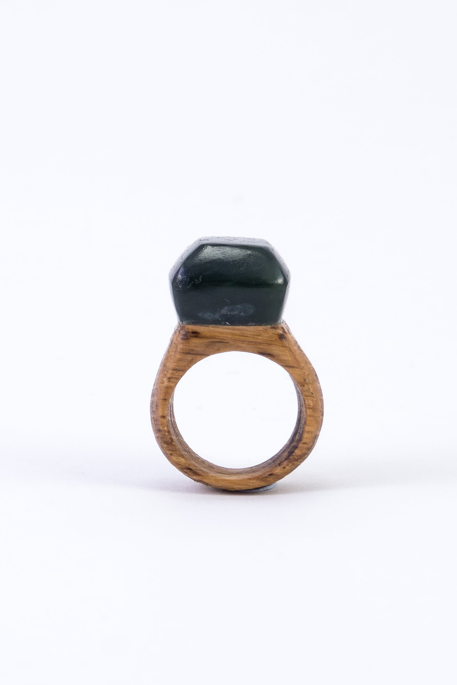 CRYSTAL & WOOD ring -MID setting