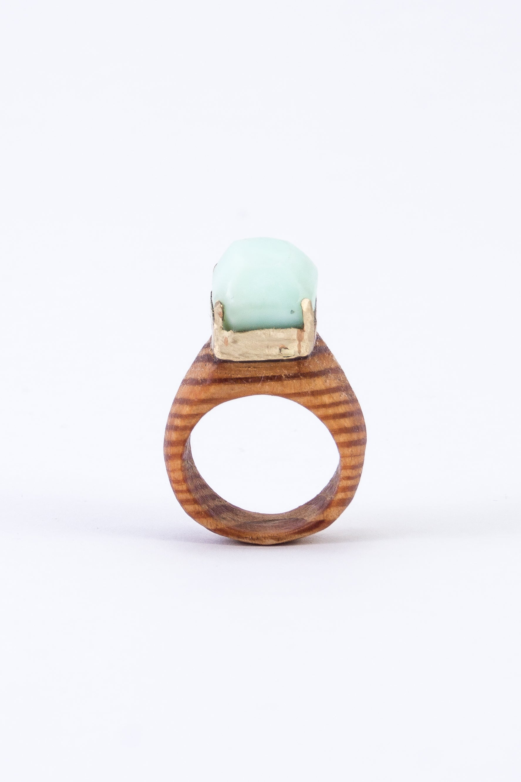 CRYSTAL & WOOD with GOLD ring - LARGE DIAMOND setting