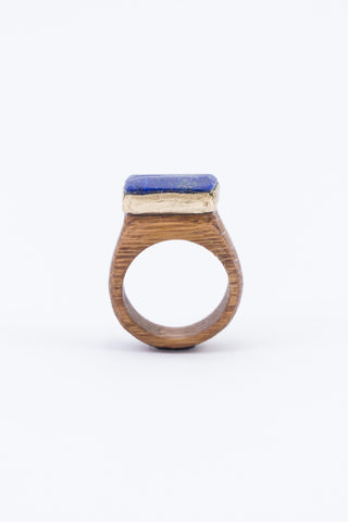 CRYSTAL & WOOD with GOLD ring - FLAT setting