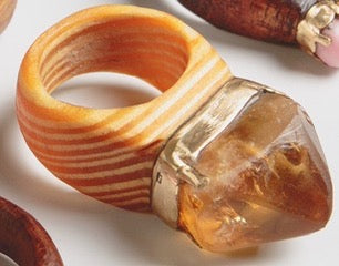 CRYSTAL & WOOD with GOLD ring - XL Diamond setting
