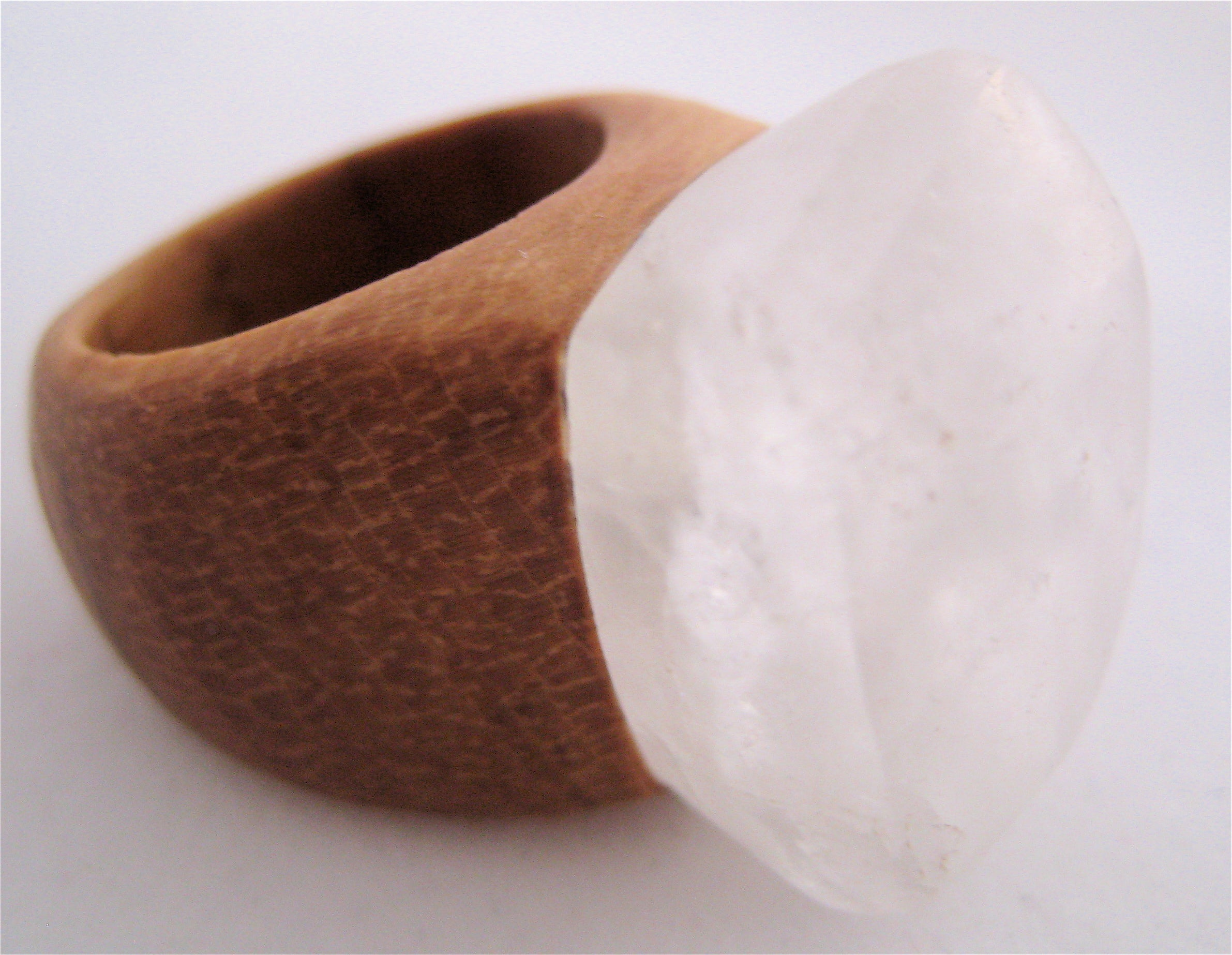 CRYSTAL & WOOD ring - XL DIAMOND setting