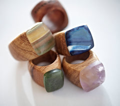 CRYSTAL & WOOD Ring - FLAT setting