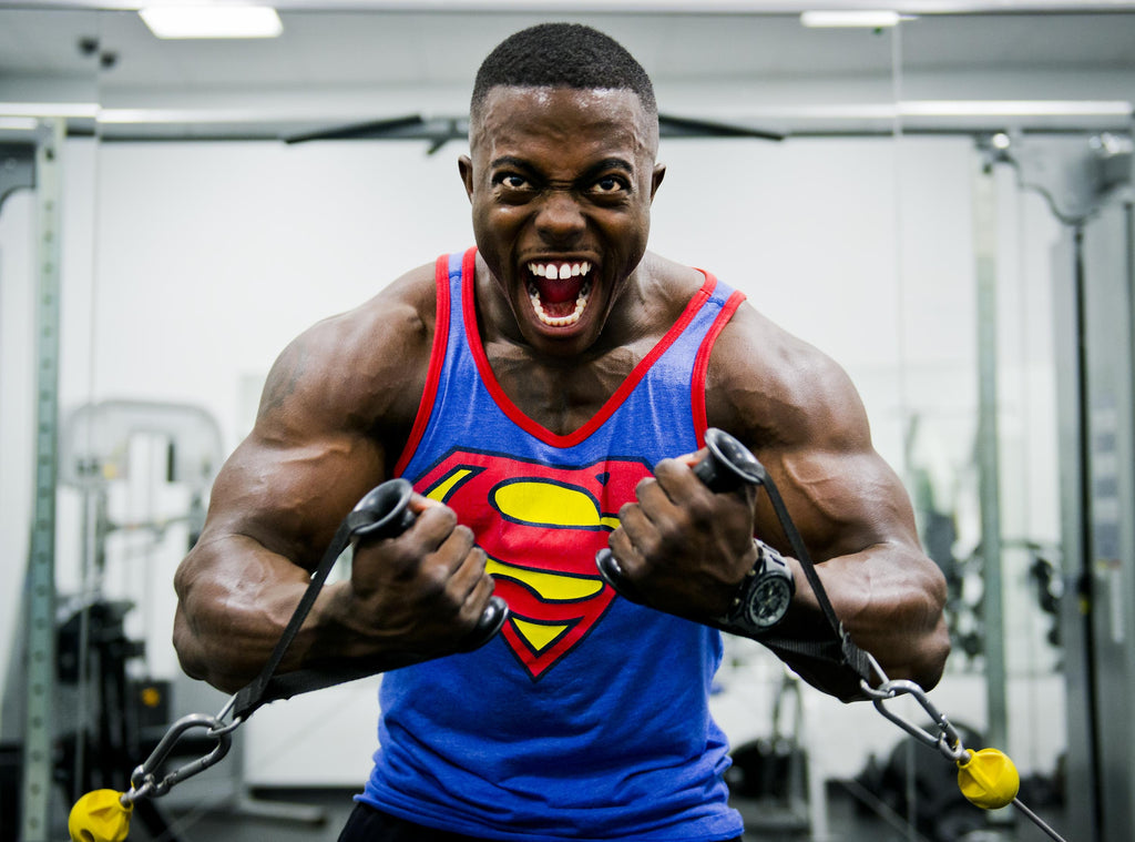 bodybuilder wearing superman shirt tough one abusive personality type stop the violence