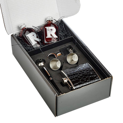 Black Hip Flask and 2 x 5cl Mini's Box Set
