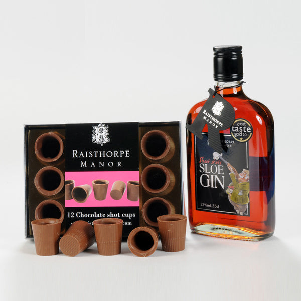 sloe gin and milk chocolate shot cups raisthorpe manor