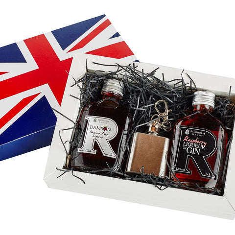 Union Jack Mini Hip Flask Gift Set 2