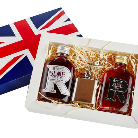 Union Jack Mini Hip Flask Gift Set 3