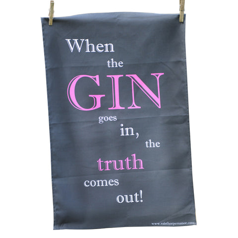 'When the Gin goes in' Tea Towel