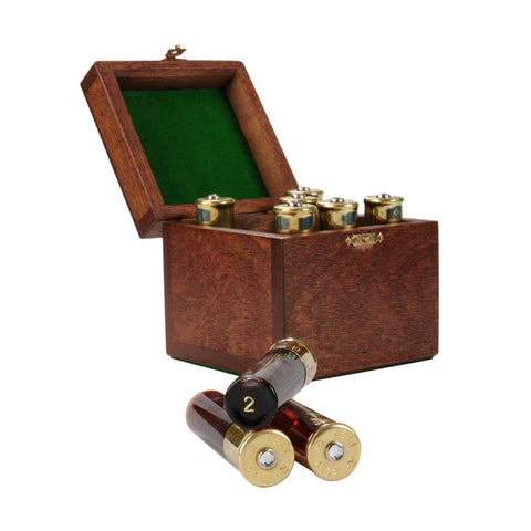 Wooden Boxed Cartridge Shot Glass Holder
