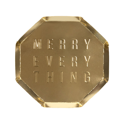 """Merry Everything"" Gold Foil Side Plates"