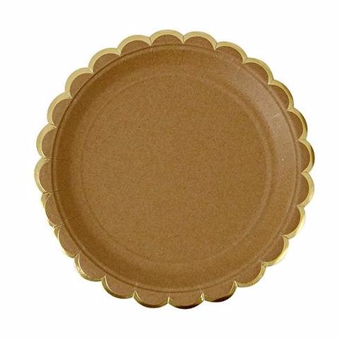 Gold foil scalloped plate