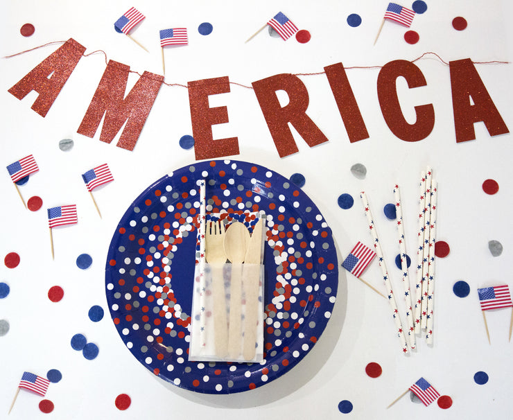 America fourth of july banner tabletop