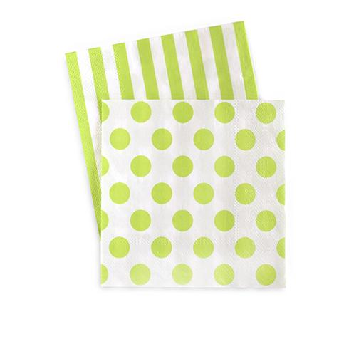 Green Apple Stripes & Dots Cocktail Napkins