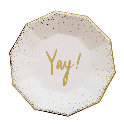 "Gold Foil ""Yay!"" Large Plates"