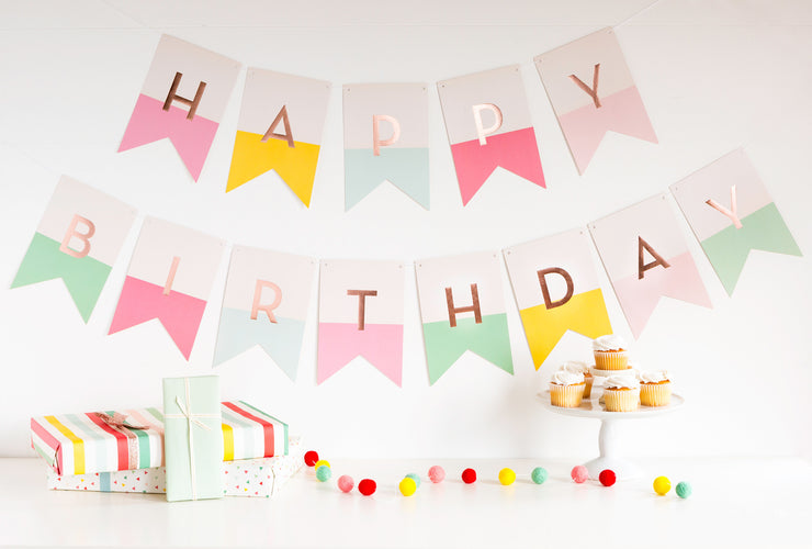 pink girl's birthday banner