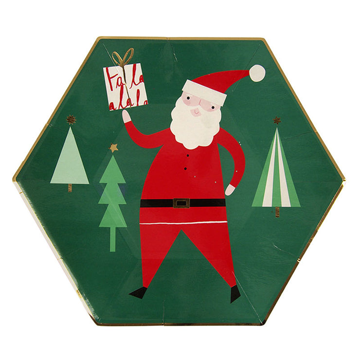 Santa Hexagon Large Plates