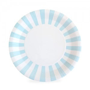 powder blue stripe paper plates
