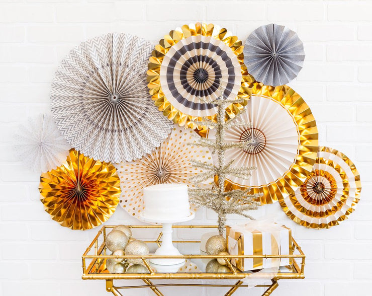 Fancy Gold and Silver Party Fans