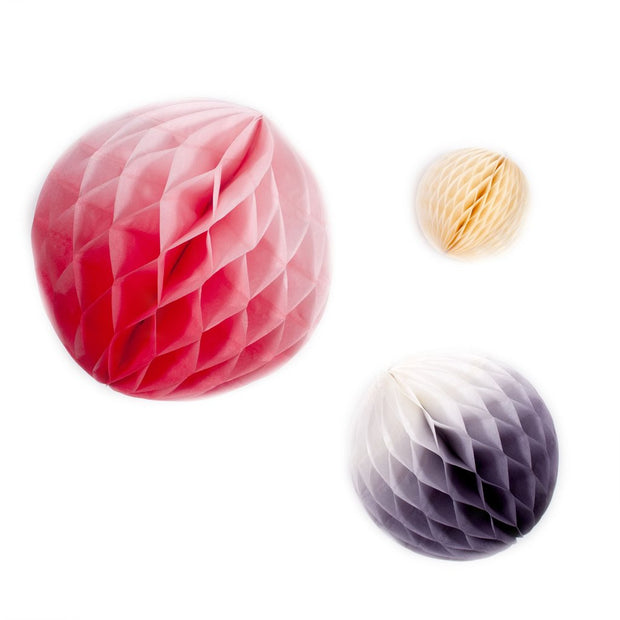 Pink and Purple Honeycomb Balls