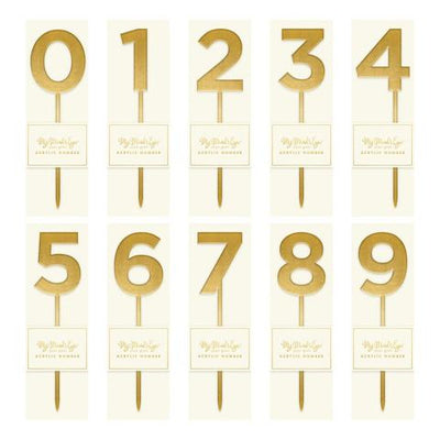 Gold Acrylic Number Cake Topper