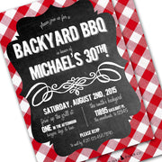 red gingham chalkboard bbq invitation