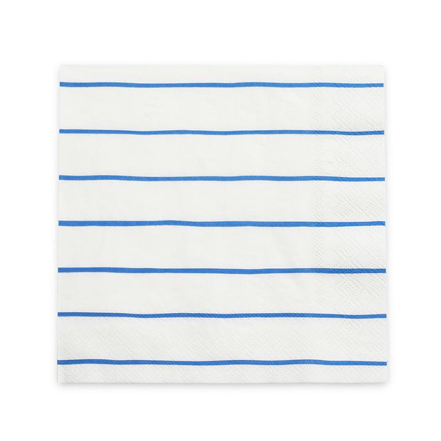 Cobalt Frenchie Striped Dinner Napkins
