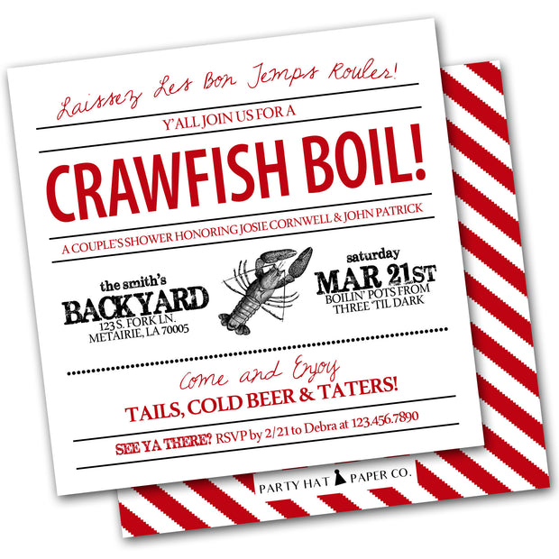 crawfish boil invitation red