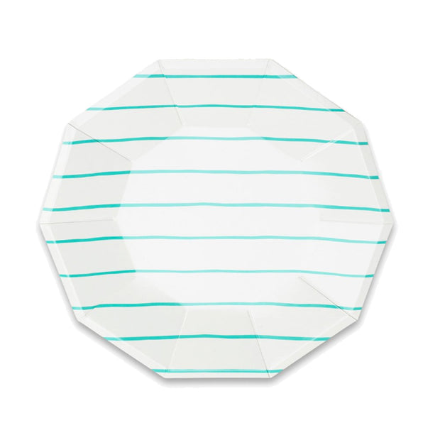 Frenchie Aqua Stripe Large Plates