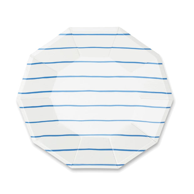 Frenchie Cobalt Stripe Large Plates