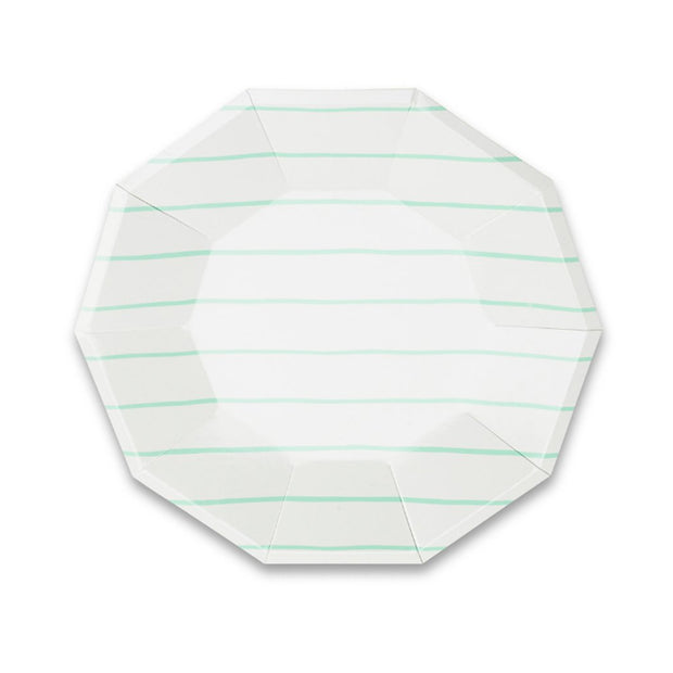 Frenchie Mint Stripe Large Plates