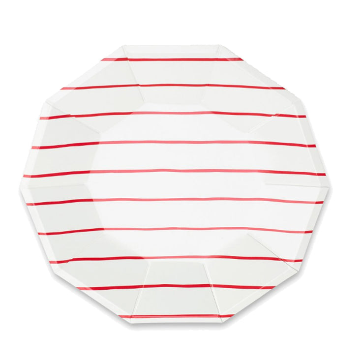 Frenchie Apple Red Stripe Large Plates