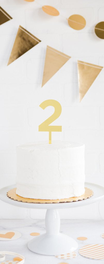 Gold Acrylic Number Cake Topper, Numbers 0-9