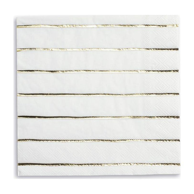 Gold Frenchie Striped Dinner Napkins